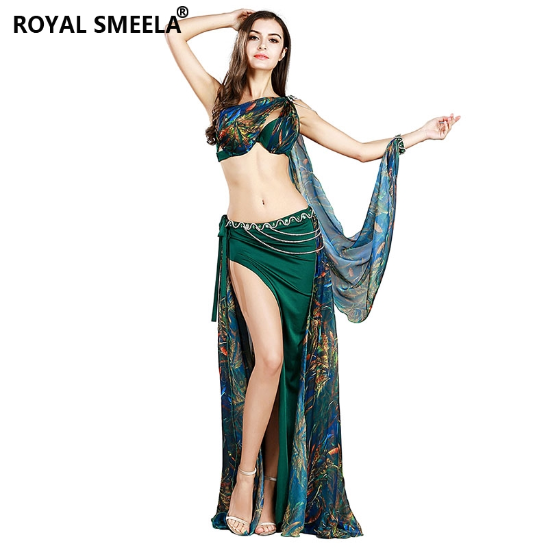 Professional Belly Dance Costume Set 3 Colors Bra+skirt+waist Chain+armbands Bellydance Clothes Outfit 8834
