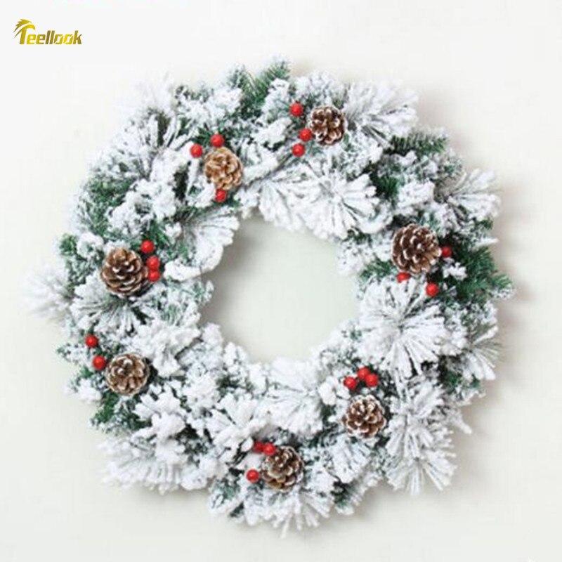 Teellook 50cm pin aiguille mixte flocon de neige guirlande de noël fruits rouges décoration neige noël guirlande de pin