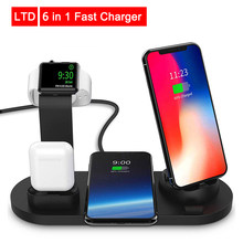 6 in 1 Fast Charger 10W Qi For Android IOS Smartphone Fast Charging with Stand Charging Dock For Smart Watch For AirPods Charge(China)