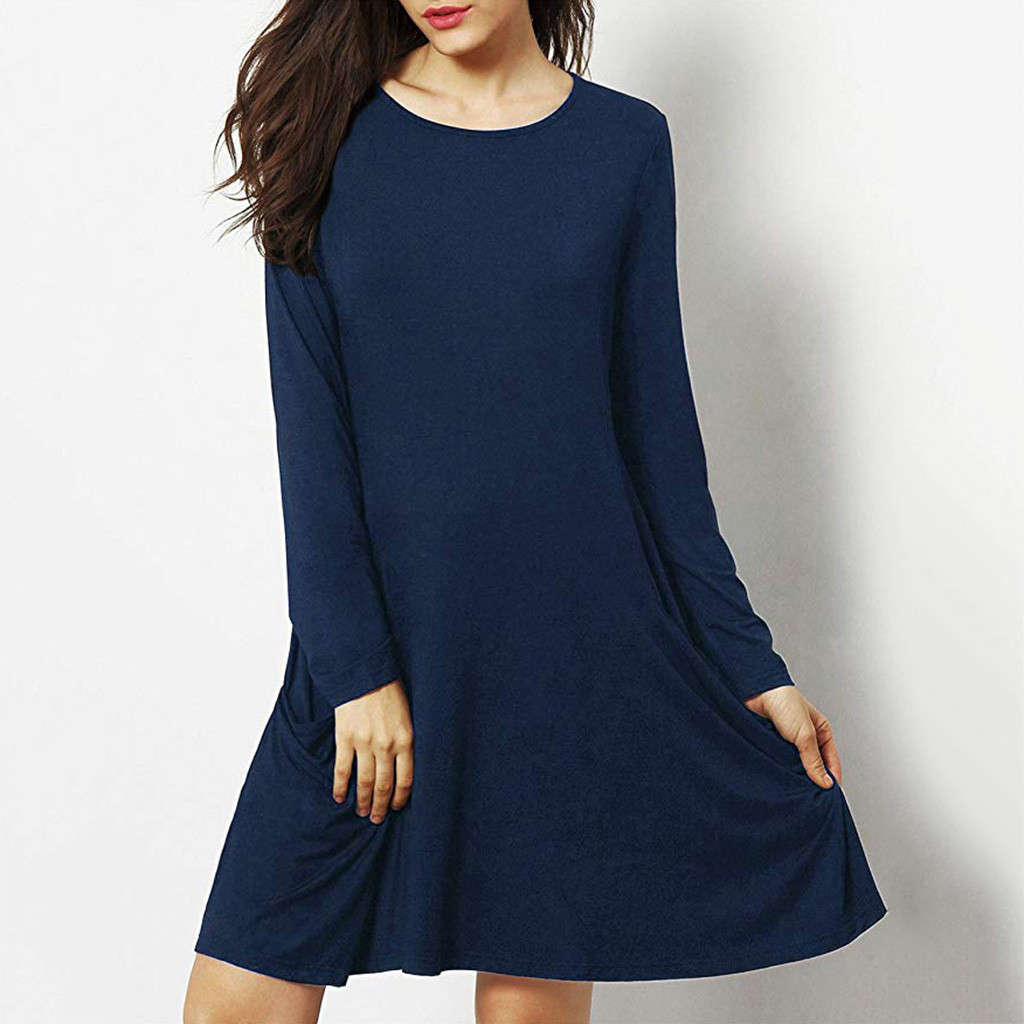 Knee Length Loose Dress Crew Neck With Pocket Design Casual Clothing Woman Wears