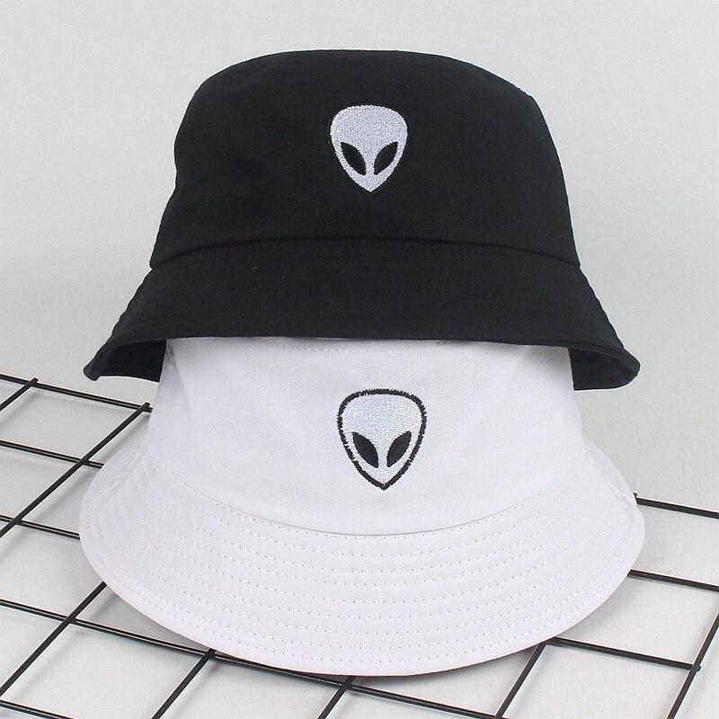 Hat Bucket-Hat Fisherman-Cap Alien Street Panama Harajuku Sun-Party Black White Unisex