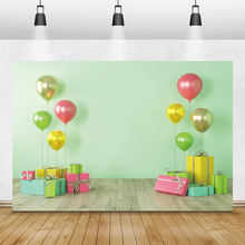Laeacco Birthday Photophone Green Wall Colorful Balloons Gifts Photography Backgrounds Baby Shower Backdrops Newborn Photozone