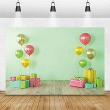 Laeacco anniversaire Photophone vert mur coloré ballons cadeaux photographie arrière plans bébé douche décors nouveau né Photozone