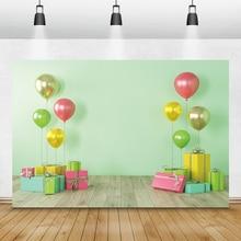 Laeacco fondos fotográficos de cumpleaños para recién nacidos, pared verde, globos coloridos, regalos, fondos de fotografía