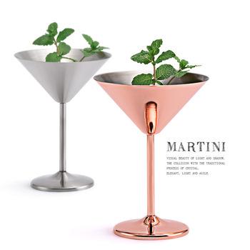304 ze stali nierdzewnej koktajl Martini szkło wysokiej podstawy lampka do wina lampka do wina Metal Bar KTV kieliszek do szampana tanie i dobre opinie Sanding Copper Plating Paper Box 122g First-Class Stainless Steel A Single Domestic Trade American 201-300ml Glass