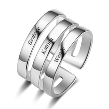 Personalized Rings Delicated Stainless Steel  Jewelry Customized 3 Names Charm Engraved rings Fashion Engagement Gift for Women charm stainless steel rings fashion golden