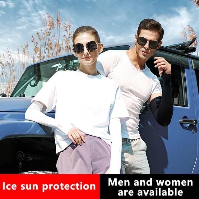 2 pçs braço mangas aquecedores esportes manga sol proteção uv capa de mão refrigeração aquecedor correndo pesca ciclismo esqui equitação ao ar livre 2
