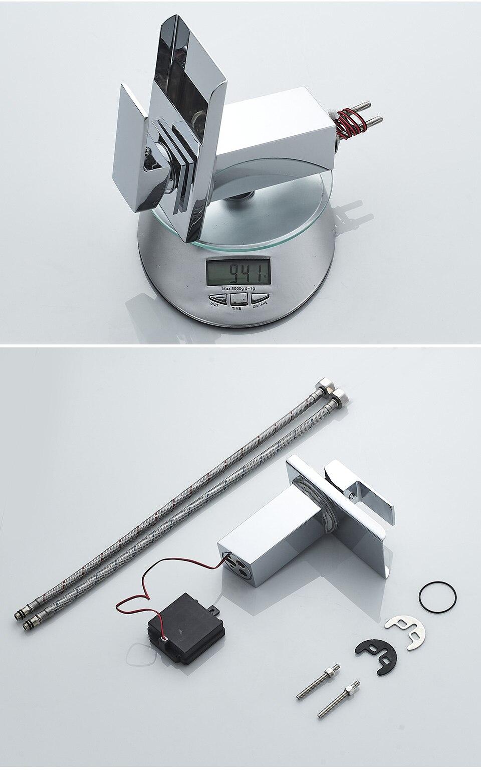Ha705b8fa7cd242899b25db39302511906 ROVADE Bathroom LED Basin Faucet, Waterfall Bathroom Sink Tap Cold and Hot Mixer Crane (Chrome)
