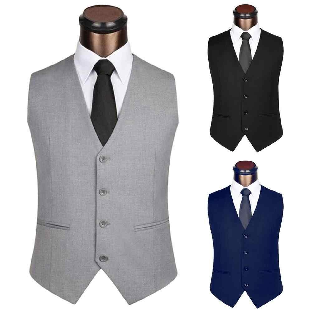 2020 nowa sukienka kamizelki dla mężczyzn jednolity kolor jednorzędowy Slim-fit mężczyzna garnitur kamizelka mężczyzna kamizelka kamizelka Homme Casual rękawy