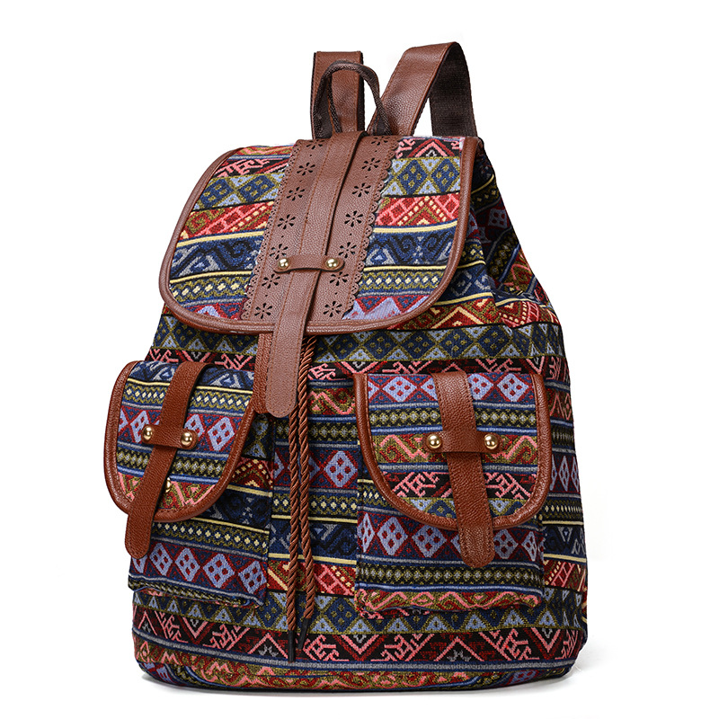 2020 Vintage Embroidery Ethnic Canvas Backpack 1