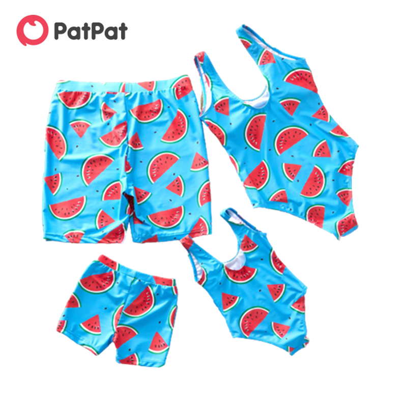 PatPat ฤดูร้อนแตงโมพิมพ์ครอบครัวชุดว่ายน้ำการจับคู่ชุดครอบครัวดูชุดว่ายน้ำสำหรับสาวสาวพ่อแม่