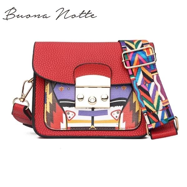 Panelled Hard Pu Leather Women Shoulder Bag Colorful Wide Strap Crossbody Bags Fashion All-Match Elegant Ladies Flap