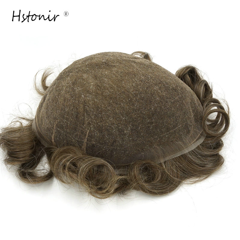 Hstonir Full Lace Vip Toupee Men Hair Light Density Straight Remy Hair Human Hot Beauty H074