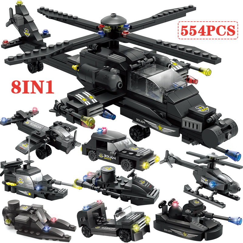 8 In 1 City Police Helicopter Building Blocks Legoingly City SWAT Car Boat Vehicle Police Bricks Toys For Boys