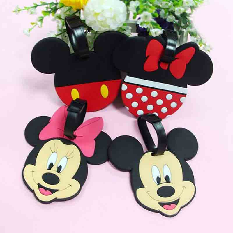 Travel Accessories Cartoon Mickey Minnie Luggage Tag Silica Gel Suitcase ID Addres Holder Baggage Boarding Tag Portable Label