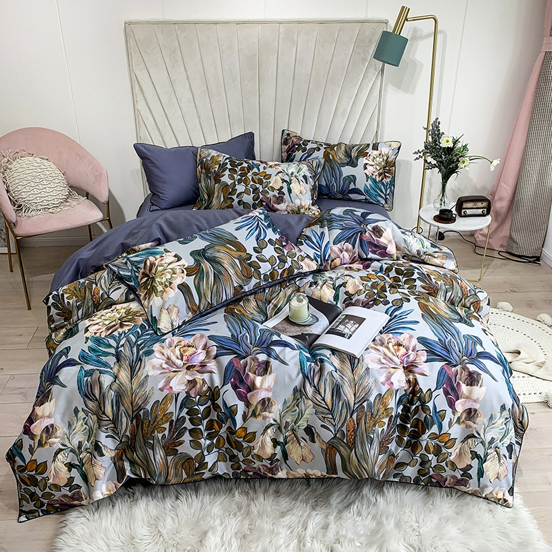 Tropical Leaves Flowers Duvet Cover Set Silky Soft 100%Egyptian Cotton Bedding Set Queen King Bed Sheet Quilt Cover Pillowcases