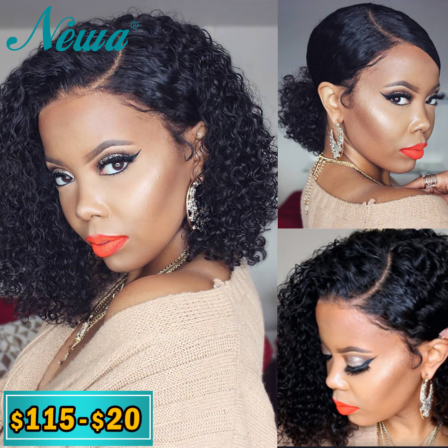 Newa Hair 13x6 Curly Lace Front Human Hair Wigs Pre Plucked Brazilian Ombre Lace Front Wigs With Baby Hair 150% Remy Bob Wigs
