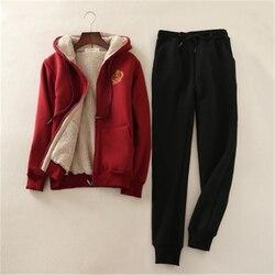 Conjunto de dos piezas para mujer conjunto Casual 2019 invierno de piel de cordero suéter de terciopelo grueso traje de mujer calientes camisetas y pantalones deportivos