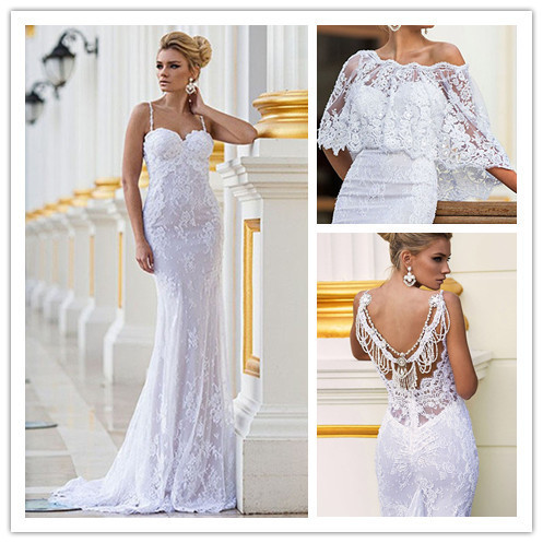 2015 Fashion Design White Sweetheart Spaghetti Straps Lace Mermaid Wedding Dresses Bridal Gowns Fashion Vestido De Noiva