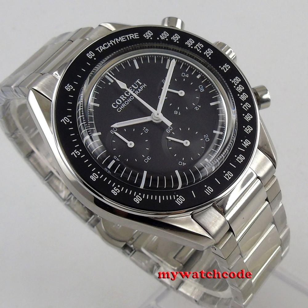Chegam novas marca de luxo superior 40mm corgeut preto dial 24 horas aço inoxidável pulseira quartzo cronógrafo completo relógio masculino c176 - 4