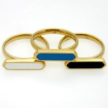 купить Trendy Rose Gold Ring Women Black/blue/white Female Stainless Steel Ring for Women Fashion Jewelry по цене 167.39 рублей