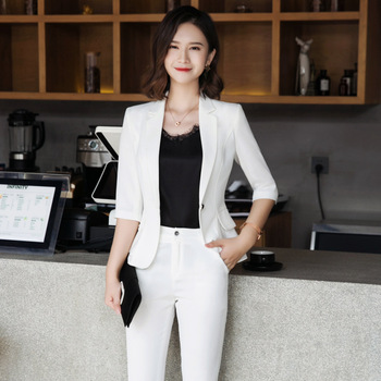 Professional womens suits pants suit high quality Summer new solid color Slim ruffled white blazer Female slim trouser
