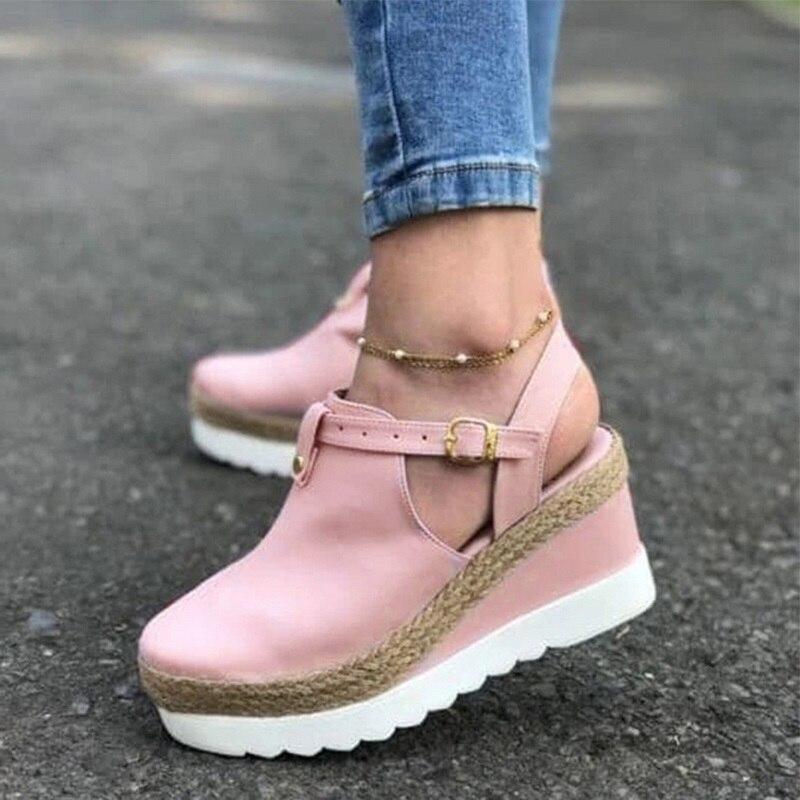 Sandals Women's Wedges Platform Ladies Ankle Buckle Strap Female Hemp Slingbacks Non Slip Woman Shoes Summer Plus Size