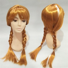 Girl Elsa Cosplay Wig Halloween Child Anna Cosplay Headwear Performance Prop