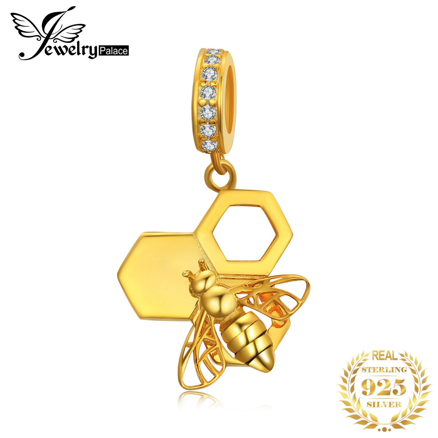 JewelryPalace Bee Honeycomb 925 Sterling Silver Beads Charms Silver 925 Original For Bracelet Silver 925 original Jewelry Making in Charms from Jewelry Accessories