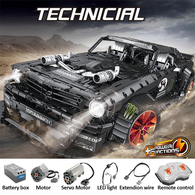 In stock Mould King 13108 Ford Mustang Hoonicorn Racing Car Technic <font><b>MOC</b></font>-<font><b>22970</b></font> FIT 20102 Building Block Bricks Toys Kids Gifts image
