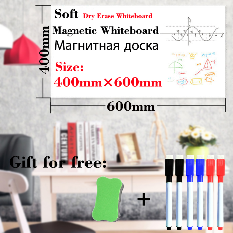 Magnetic Whiteboard 400mmx600mm Fridge Stickers Dry Earse White Board Home Kitchen Message Boards Writing Sticker Magnets