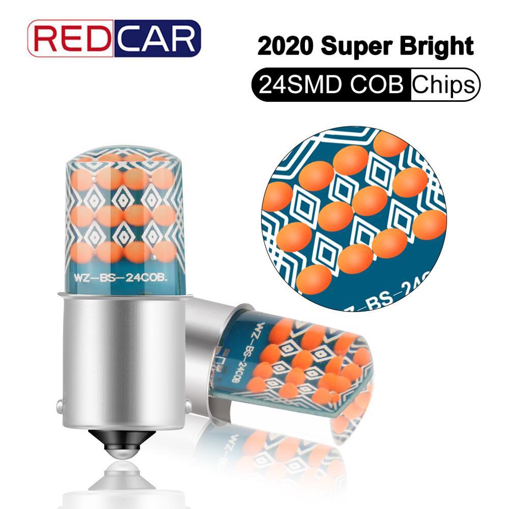2pcs 1156 BA15S P21W Led Bulb R5W R10W T20 7440 24SMD COB Chips Auto Car Turn Signal Parking Lights T25 3156 6000K White 12V