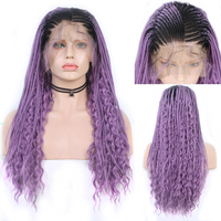 Charisma 13X6 Ombre Purple Wigs Braided Wig Synthetic Lace Front Wig with Baby Hair Box Braids with Curly Wigs for Women