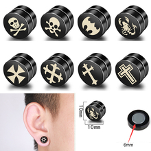 Stud-Earrings Jewelry Magnetic Non-Piercing Barbell Skull Punk Steel Gothic Titanium