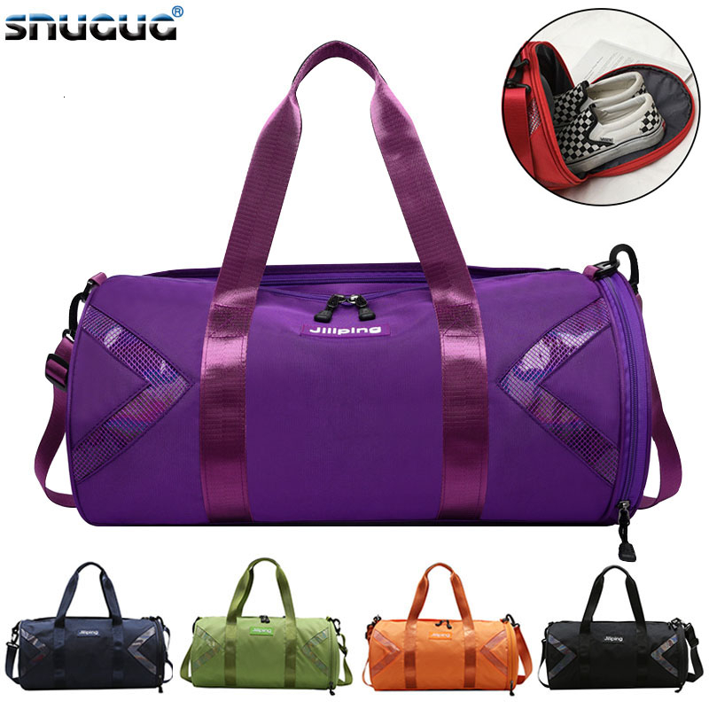 SNUGUG Outdoor Fitness Bag Waterproof Women Male Sports Bags For Shoes New Women Travel Handbag Tote Bag Nylon Black Gym Bag Men