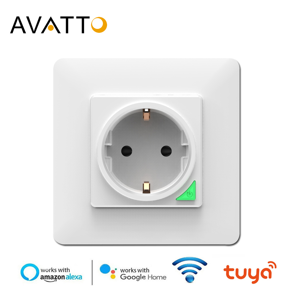 AVATTO Smart Wall Socket,Tuya Smart Life APP Voice Remote Control EU 16A Wifi Power Plug Works With Google Home Alexa IFTTT
