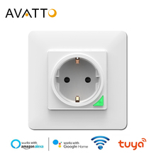 AVATTO Smart Wall Socket,Tuya Smart life APP Voice Remote Control EU 16A Wifi Power Plug Works With Google Home Alexa IFTTT