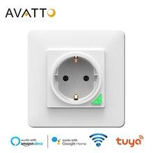 AVATTO חכם קיר שקע, tuya חכם חיים אפליקציה קול שלט רחוק האיחוד האירופי 16A Wifi כוח תקע עובד עם Google בית Alexa IFTTT