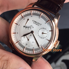 Mechanical-Watch Rose-Gold-Case Power-Reserve Corgeut 40mm Strap Dial-Date White Top