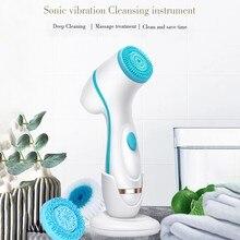 Limpador de rosto elétrico escova de limpeza facial poro ceaner pele profunda limpeza rotação escova 3 cabeças rosto spa beleza facial massagem