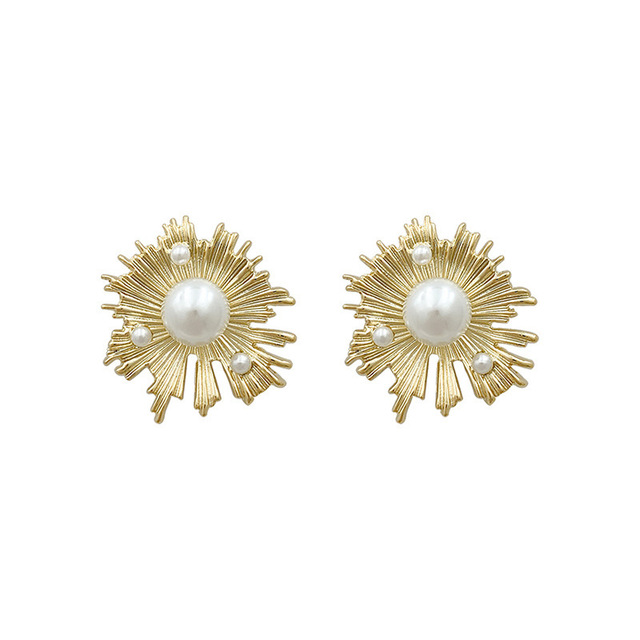 женские серьги гвоздики с золотым жемчугом chyvenee винтажные фотография