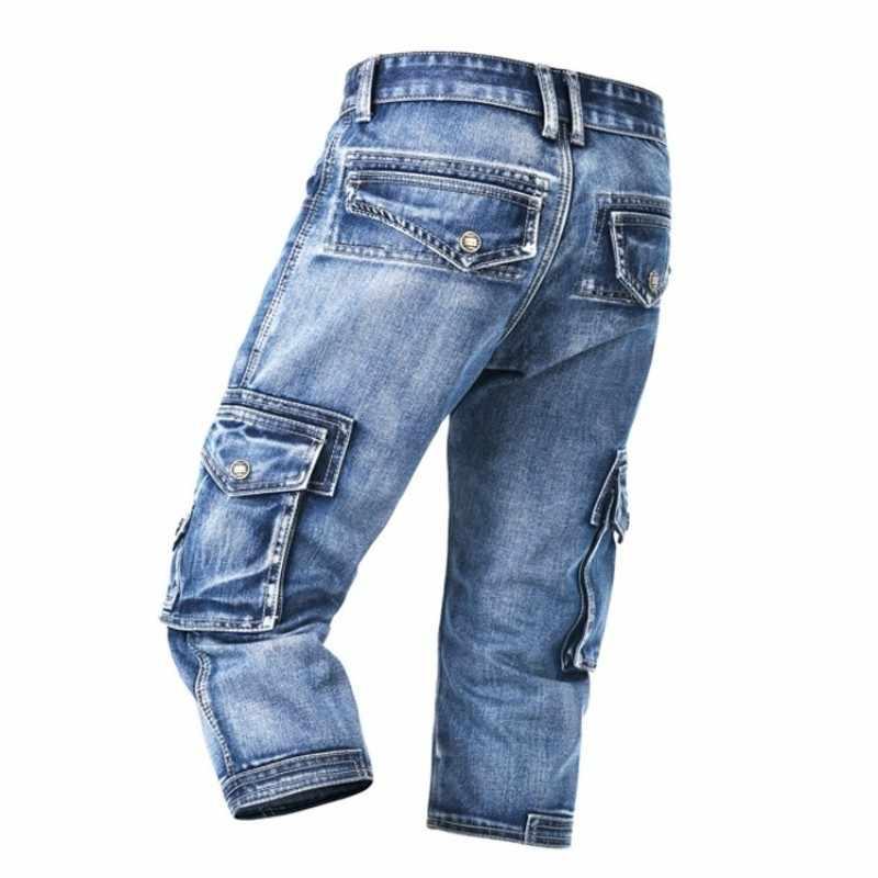 Lato niebieskie cienkie kilka kieszeni długości łydki szczupłe spodenki jeansowe moda na co dzień duże rozmiary krótkie dżinsy męskie spodnie robocze Cargo 2020 nowe