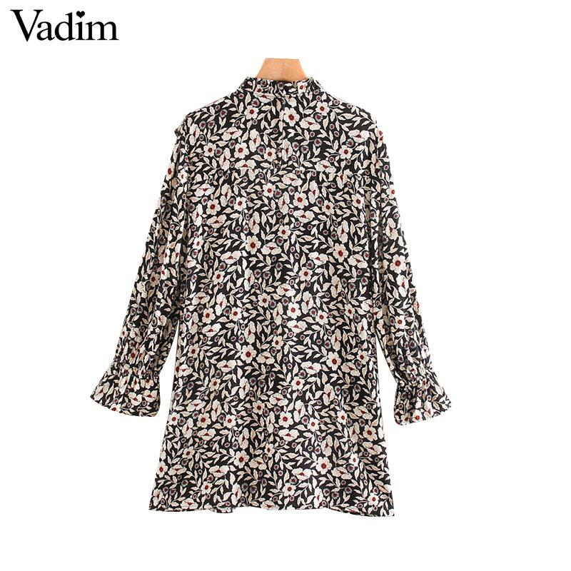 Image 2 - Vadim women chic floral pattern mini dress ruffles long bell sleeve straight female causal fashion dresses vestidos QD081Dresses   -