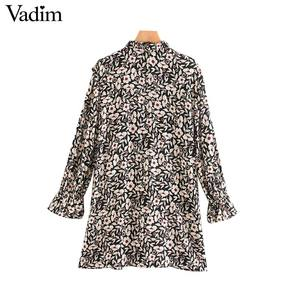 Image 2 - Vadim women chic floral pattern mini dress ruffles long bell sleeve straight female causal fashion dresses vestidos QD081