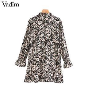 Image 2 - Vadim женское шикарное мини платье с цветочным узором, оборками, длинным рукавом колокольчиком, прямые женские повседневные модные платья, vestidos QD081