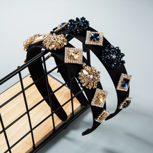 2020 New Design Baroque Vintage Hair Band for Woman Blue Coffee Crystal Flower Geometric Square Rhinestone Hair Bands for Woman coffee square hair ring
