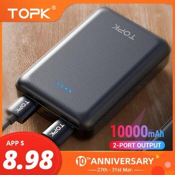 Cep telefonları ve Telekomünikasyon Ürünleri'ten Taşınabil. Güç Kay.'de TOPK 10000mAh Mini güç bankası iPhone Xiaomi için çift USB taşınabilir cep telefonu harici pil güç