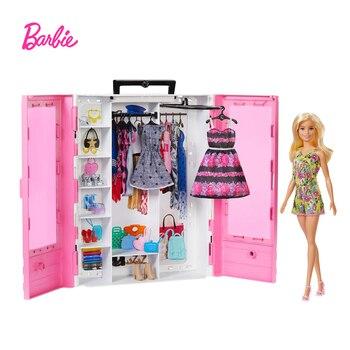 Barbie Wardrobe Set Fashionistas Ultimate Closet Princess Dressup Children Toys Portable Fashion Toy GBK12 new pink closet wardrobe forbarbie doll girls toy princess bedroom furniture