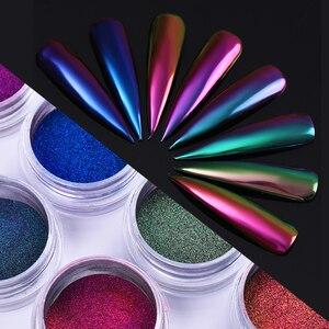 Image 3 - מראה Auroras אפקט נייל ארט Chameleon נייל נוצץ אבקת 1 תיבת 8 צבעים כרום פיגמנט DIY עיצוב קישוט