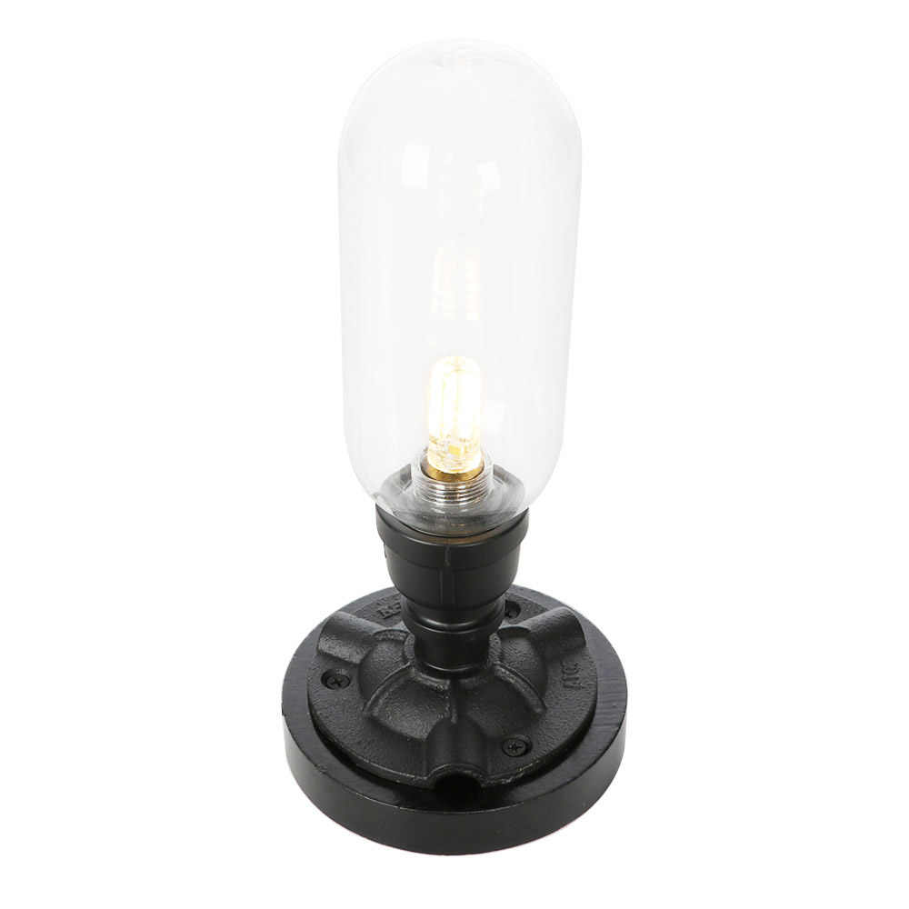 Industrial Loft Decor Table Lamps Vintage Water Pipe Desk Lamp Iron Glass LED Table Light For Bedroom Living Room Lighting